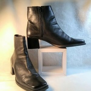 Black square toe leather boots